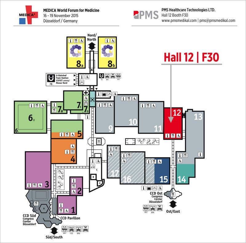 PMS Medica 2015 Hall Map
